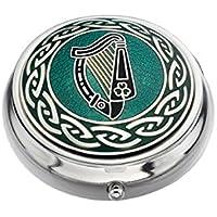 Pillendose–Celtic Lands–Irische Harfe Design, emailliertes Zinn–Silber, Grün & Schwarz preisvergleich bei billige-tabletten.eu