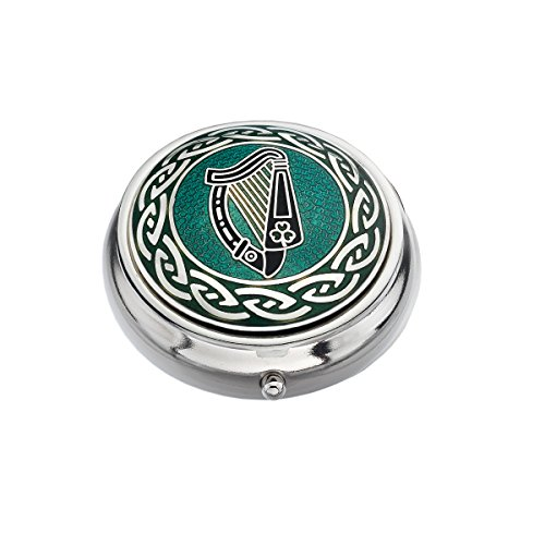 Pillendose-Celtic Lands-Irische Harfe Design, emailliertes Zinn-Silber, Grün & Schwarz -