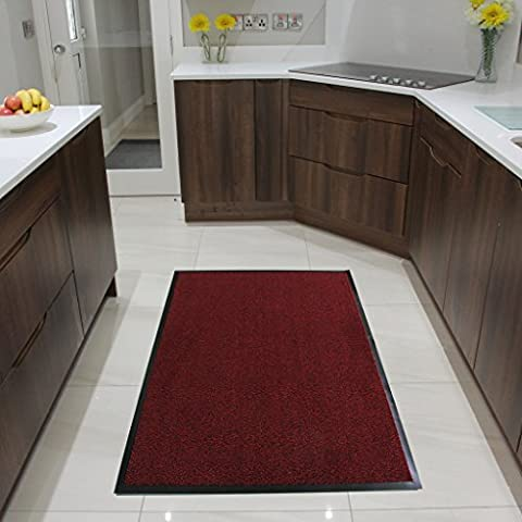 Red Rubber Backed Hardwearing Washable Hall & Kitchen Mats - Nova 90x150cm