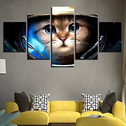 adgkitb canvas Quadri su Tela Quadri Wall Art Quadro Soggiorno Decor 5 Pezzi Gatto Indossa Lo Spazio Casco Dipinti Stampe Amo