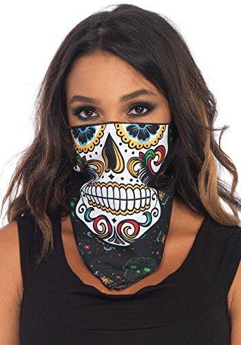 Unisex Zuckerschädel Kopftuch Gesichtsmaske Tag der Toten Kostüm Halloween Weiß Schädel Gesicht - Multi, One (Kostüme Tag Aus)