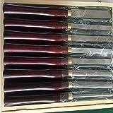 Scalpello tornio set 8 piece set con scatola di legno per tornitura legno maniglie, in acciaio ad alta velocità e terminali in ottone (Redwood)