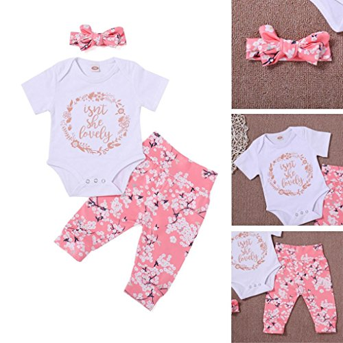 CHshe 3pcs Newborns Baby Girls Boys Summer Short Sleeve Print Romper Jumpsuit Tops+Pants+Hat Party Outfits Clothes for 0-18 Months White