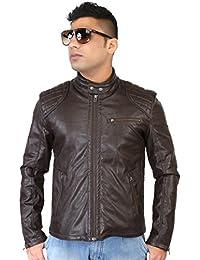 Caveliro Men's Dark Brown Slant Zip Pocket Faux Leather Biker Jacket