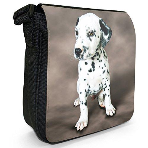 Dalmata Cane Piccolo Nero Tela Borsa a tracolla, taglia S Dalmatian Puppy