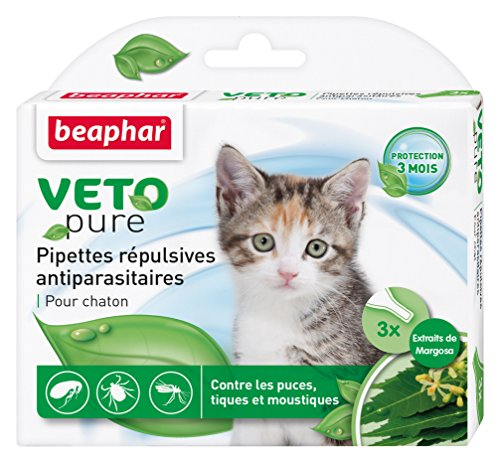 Beaphar - VETOpure, pipettes répulsives antiparasitaires - chaton - 3 pipettes