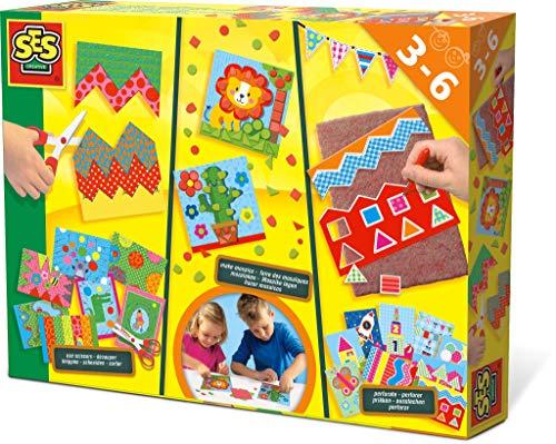 SES Creative 14878 14878-Ich lerne Schneiden, Mosaike Legen, Prickeln (Kinder Für Mosaike)