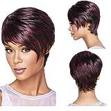 Perücke kurze Frisur unordentlich kurze glatte Haare flauschige realistische Frau