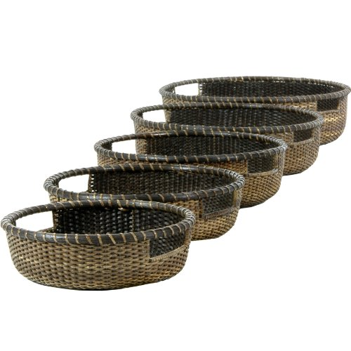 Oriental Möbel Rattan Low Tablett Korb (Set von 5) – Antik Finish