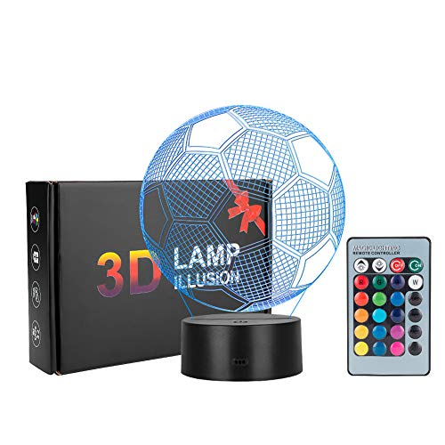 Eletorot 3D Illusion Lamp Nachtlicht LED Schlafzimmer Lampen Night Light Kunst Skulptur Lichter Schreibtisch Lichter für Kinder Geschenk Mit Fernbedienung(Fußball)