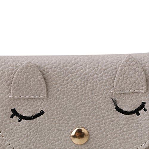 Lalang Nettes Kätzchen Quaste Handy-Beutel PU Leder Schultertasche / Handtaschen Wallet Messenger Bag Umhängetasche (Orange) Grau