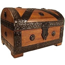 Thunderdog Caja Pirata Cofre del Tesoro 23x 16x 16cm marrón Look Madera Maciza aufbewahrungsb.