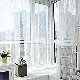 TPulling Warp Stricken Doppelte Spitze Blumen-bloße Vorhang-Tüll-Fensterbehandlungs-Voile Drapieren Volant 1 Platten-Gewebe Vorhänge (Weiß)