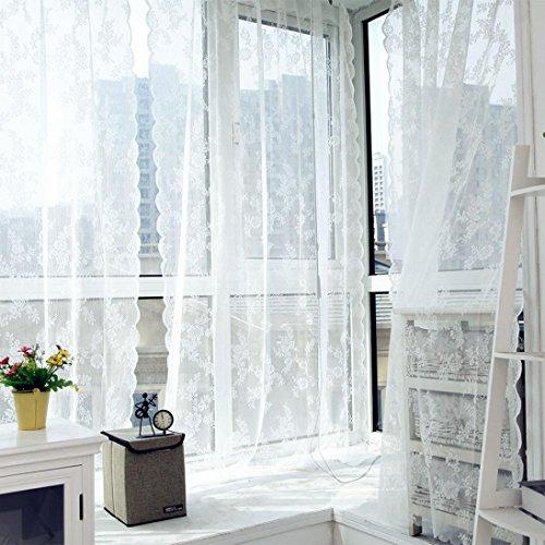 TPulling Warp Stricken Doppelte Spitze Blumen-bloße Vorhang-Tüll-Fensterbehandlungs-Voile Drapieren Volant 1 Platten-Gewebe Vorhänge (Weiß) (Spitze Blockieren)