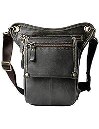 boshiho® para Hombre Piel Auténtica riñonera cintura cinturón gota pierna Cross Over Bag