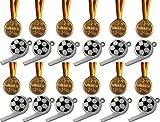 Kaufen-schenken-spielen 12 Fußball-Trillerpfeifen + 12 Gold Medaillen !