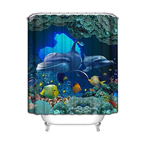Rideau de douche, épaisseur de polyester imperméable à l'eau Protection de l'environnement Mildew 180 * 200cm 200 * 180cm (Fantasy Ocean) Rideau de douche ( Size : 150*180cm (59*71inch) )