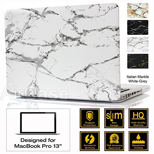"AirPlus: AirCase - Premium Designer Series for Apple MacBook Pro 13 with DVD Writer (Models: A1278), Rubberized Hard Case/Hard Shell Cover for 13.3"" Satin Feel, Italian Marble Series [White-Grey]"