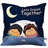 #2: indibni Together Couple Cushion Cover 12x12 with Filler - Dark Blue Cute Gift for Girlfriend Boyfriend on Birthday Anniversary