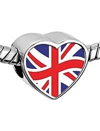 Uniqueen Colgante de corazón con la bandera del Reino Unido para pulseras de serpiente europeas