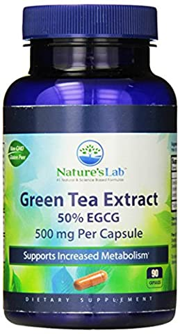 Nature's Lab Green Tea Extract 50% EGCG Capsules, 500 mg, 90 Count