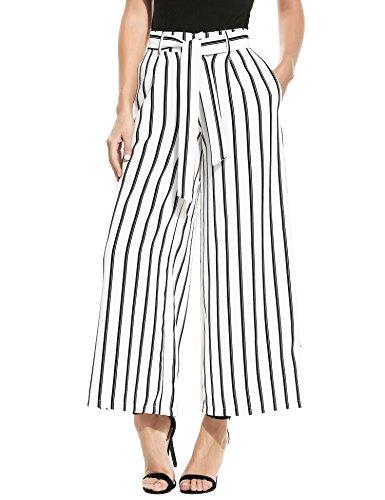 ZEAGOO  Damen Sommerhose lang weite Hose gestreifte Hose Palazzo mit Eingrifftaschen Schlabberhose, Weiß - S -