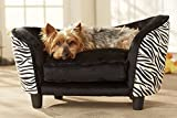 Large Luxury Pet Bed | Designer Sofa Bed for Dogs & Cats | Durable, Robust and Easy Clean Furniture | Comfortable Soft Cushion | Practical Toy Storage Bag | 68 cm x 35 cm x 40 cm | Zebra