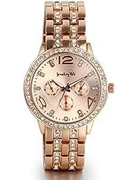 Jewelrywe dial redondo venda de acero inoxidable de cuarzo reloj de pulsera con diamantes de imitación de oro rosa
