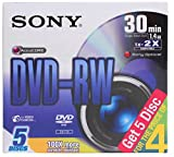 SONY MINI DVD-RW 30 MINS (FOR HANDYCAM) (PACK OF 5) 1.4GB