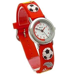 Ravel Football Time Teacher Cadran blanc enfants–garçons Rouge montre R1513.32r