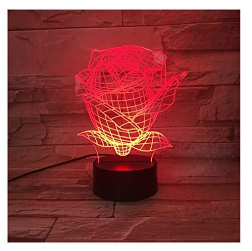 Rose Led Nachtlicht Usb Touch Sensor Rbg Floral Neuheit Beleuchtung Kind Kinder Baby Geschenk Gadget Blumen Tisch 3D Lampe Room Decor Touch Schalter 7 Farbwechsel (Blume Baby Lampe)