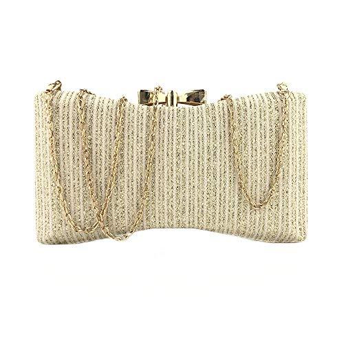 Großhandel Auge Kissen (Songlin@yuan Neuer Bogen Normallack gesponnenes Tuch glänzende einfache Handtasche Hochzeitskleid Bankett Tasche Kette Schulter tragbare Umhängetasche Frau Größe: 20,5 * 4,5 * 11 cm (Farbe : Gold))