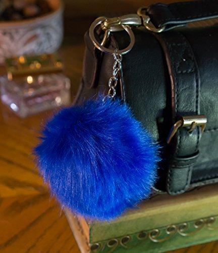 3-for2-sale-steel-blue-10cm-faux-vegan-fur-eco-pompom-keyring-keychain-handbag-charm-silver-chain-bl