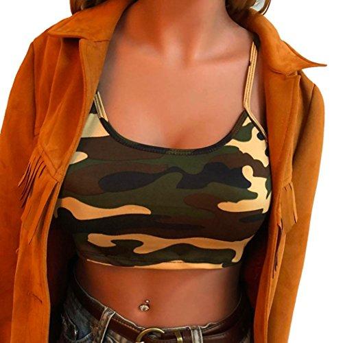 TUDUZ Damen Camouflage Armelloses Tank Top Bustier BH Weste Crop Top Bluse T-Shirt Camisole...