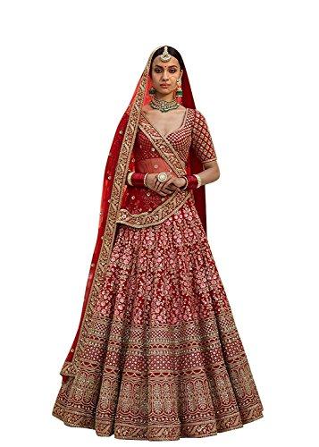 Fabtexo Women's Art Silk Lehenga Choli(Arya_S804_Red_Free Size)