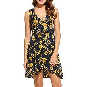 Beyove Damen Chiffon Kleid Sommerkleid mit Plissee-Falten Spitzenkleid Cocktailkleid Brautjungfernkleid Ärmellos