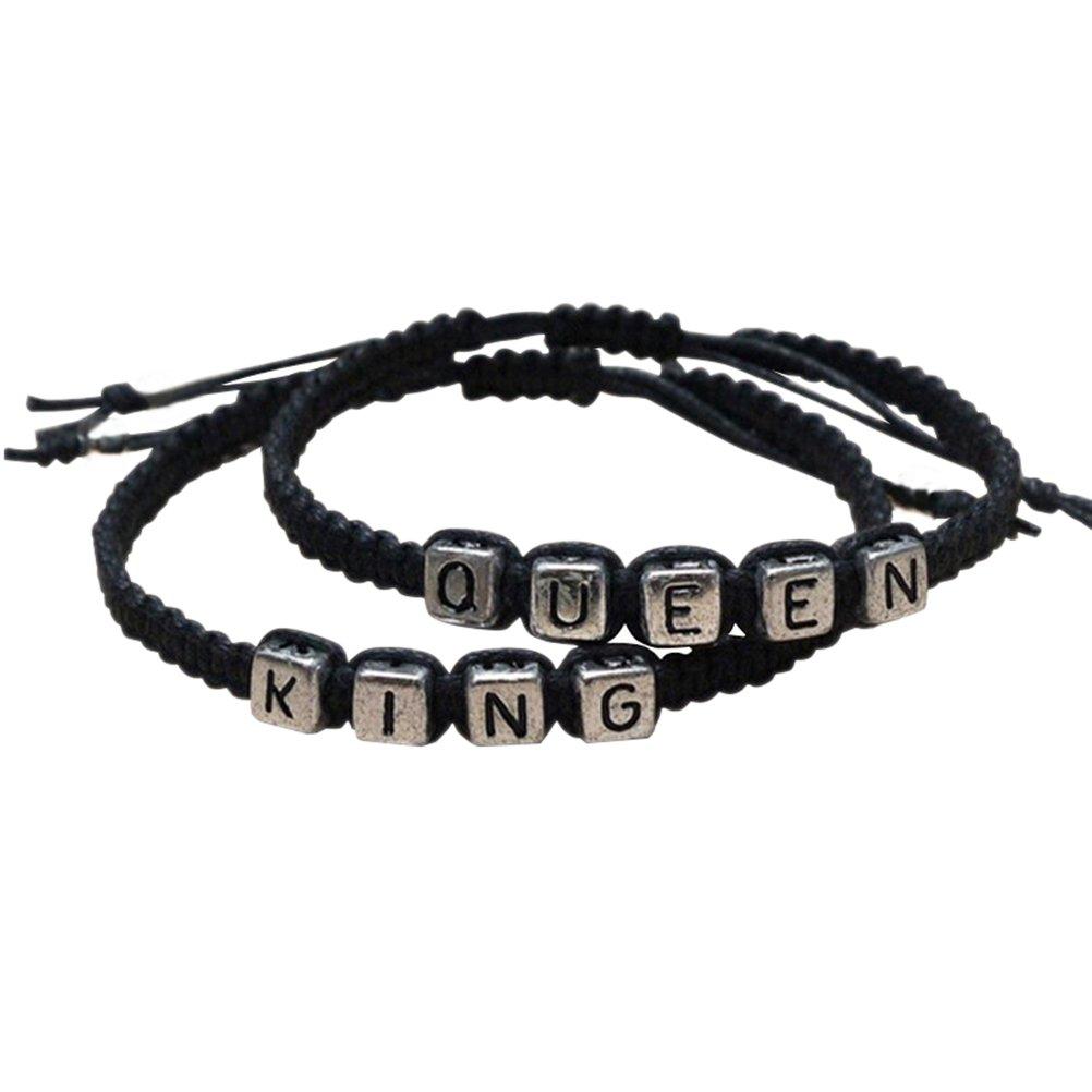 Ein Paar Armbänder gewebt Armband Für Liebespaar König und die Königin-Armbänder Armreife