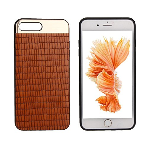 Ouneed® For iPhone 7 Plus Hülle, Striped Metal Stitch Case Cover für iPhone 7 Plus 5.5 Zoll (5.5 Zoll, Grau) Orange