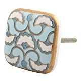 #4: IndianShelf Set of 2 Handmade Turquoise Sea Shell Design Square Ceramic Drawer Knobs Cabinet Dresser Pulls Wardrobe Handles Online