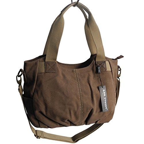 Lässige Canvas Tasche von Jennifer Jones - Damentasche , Shopper , Umhängetasche , Vintage Handtasche , Schultertasche - Baumwollstoff Segelstoff ( Braun ) - präsentiert von ZMOKA® (Elfenbein Tasche Handtasche Leder)