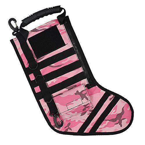 Taktische Weihnachtsfeiertag Stocking Molle Gear Dekorationen Handle Bag Accessoires Ornament Wargame Outdoor Hunting,Pink