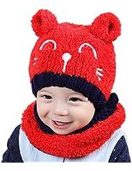 Sombreros y Bufandas Set Para Bebé Unisex, LILICAT Encantador Niñito Bebé Niños Niña Sombrero Gorras + Bufanda Estolas de Spire (Un tamaño, Rojo)