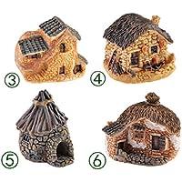 Preisvergleich für 4 stücke Miniatur Harz Villa Gras Haus Puppenhaus Ornament Mini Gärten Pflanze Decor Craft (zufällig)