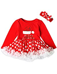 f51a63ed7c903 Sunenjoy Enfant Bébé Filles 2 PCs Barboteuse Robe Rouge Lettre Dentelle  Princesse Tutu Christma Élément Combinaison
