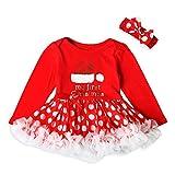 Culater Nuovo Anno di Natale Baby Girl Vestito Rosso Festa Bambini Tulle Costume per I Vestiti delle Ragazze Poco Bebes Tutu Bambini del Vestito Abbigliamento (6-12 Mesi, Rosso)