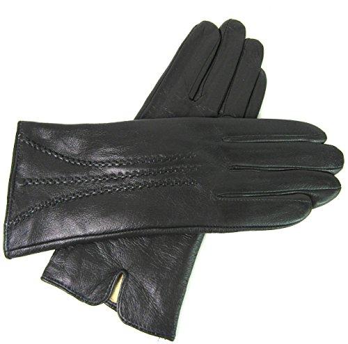 Damen Premium Quality Super Weich Leder Handschuhe Pelzfutter Streifen Detail Slim Fit - grau, L (Leder Gefüttert Pelz)