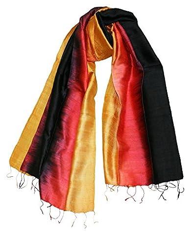 Exklusiv Seidenschal Pure Silk ca. 180 cm x 75 cm dreifarbig, Farben Seidenschals:black/red/gold (22)