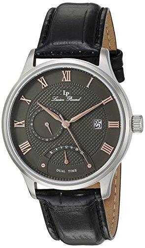Lucien Piccard uomo Volos 44mm nero vera pelle & acciaio cassa orologio al quarzo 10339–014-ra