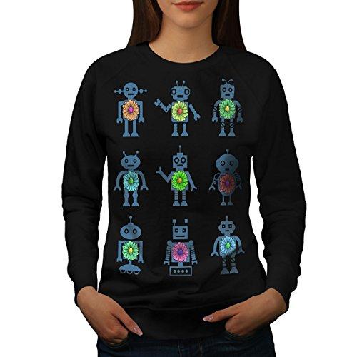 Robot Android Drôle Geek Femme S-2XL Sweat-shirt | Wellcoda Noir