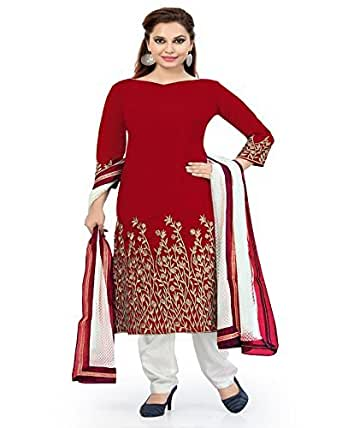 SiyaRam Women's Cotton Embroidery Dress Material (1069_AN_Red)
